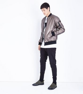 Bronze Metallic Bomber Jacket New Look