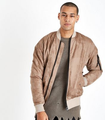 Stone Faux Suede Bomber Jacket New Look