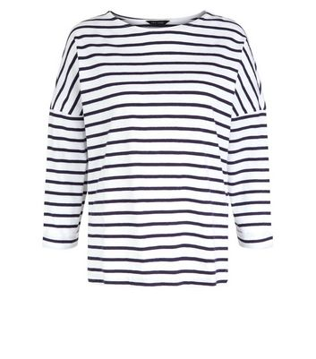 White Stripe 3/4 Sleeve Slouchy T-Shirt New Look