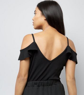 Petite Black Frill Trim Cold Shoulder Bodysuit New Look