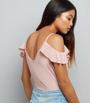 Petite Pink Frill Trim Cold Shoulder Bodysuit New Look