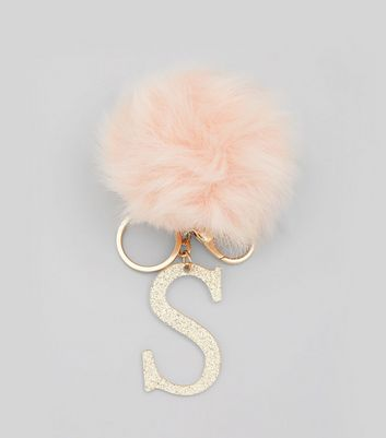Pink Initial S Pom Pom Keyring New Look