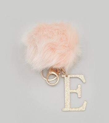 Shell Pink 'E' Initial Pom Pom Keyring New Look