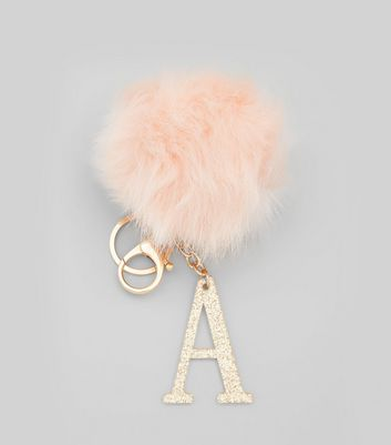 Shell Pink 'A' Initial Pom Pom Keyring New Look