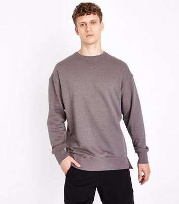 Grey Dropped Shoulder Crew Neck Jumper