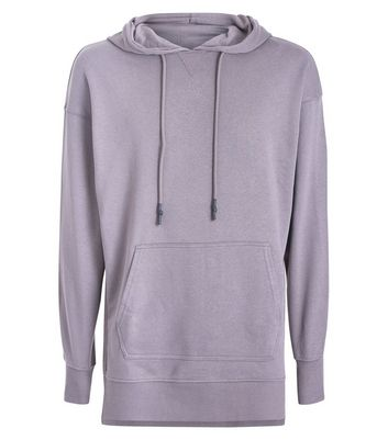 Charcoal Grey Dropped Shoulder Split Hem Hoodie New Look