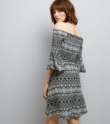 Cameo Rose Black Abstract Print Smock Bardot Dress New Look