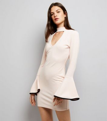Cameo Rose Shell Pink Bell Sleeve Dress New Look