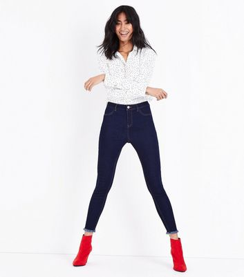 Dark Blue Fray Hem Skinny Jenna Jeans New Look
