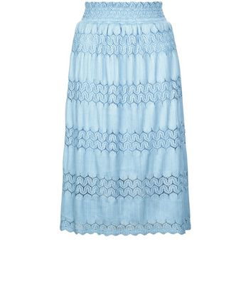 Cameo Rose Blue Crochet Lace Trim Maxi Skirt New Look