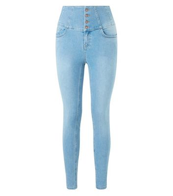 Blue High Waist Corset Skinny Jeans New Look