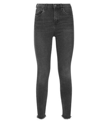 Dark Grey Raw Hem Skinny Jenna Jeans New Look