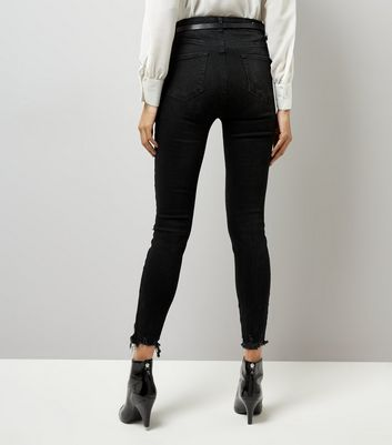 Black Ripped Skinny Jenna Jeans New Look