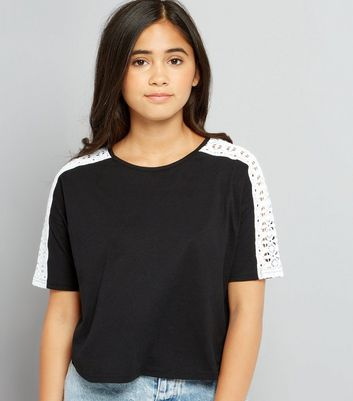 Teens Black Crochet Sleeved Crop T-Shirt New Look