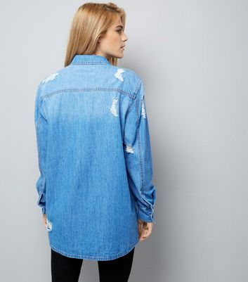 Blue Ripped Boyfriend Denim Shirt New Look