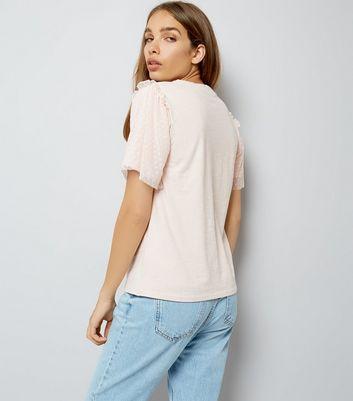 Pink Dot Mesh Sleeve T-Shirt New Look