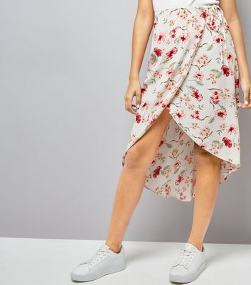 Cream Floral Print Wrap Front Midi Skirt New Look