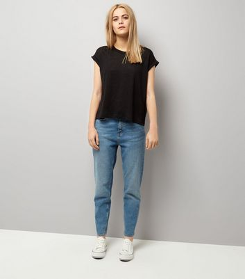 Black Linen T-Shirt New Look