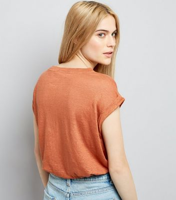 Light Brown Linen T-Shirt New Look