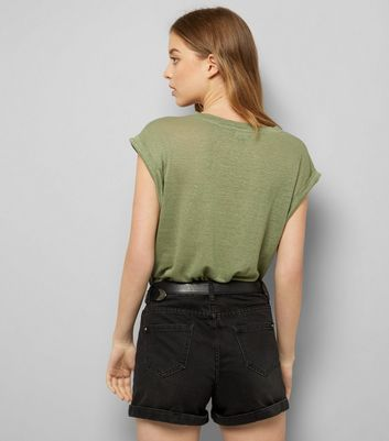 Khaki Linen T-Shirt New Look