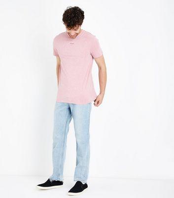 Pink Acid Wash Rose Back Printed T-Shirt New Look