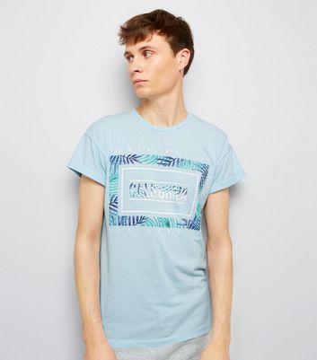 Blue California Leaf Print T-Shirt New Look