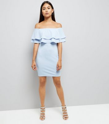 Petite Pale Blue Brill Trim Bardot Bodycon Dress New Look