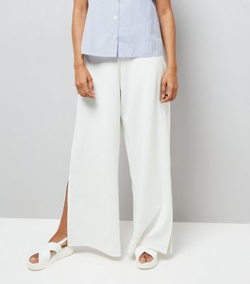 Petite Cream Wide Leg Split Hem Trousers New Look