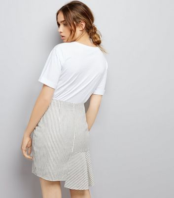 Blue Stripe Tie Shirt Sleeve Skirt New Look
