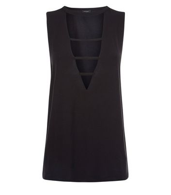 Black Triple Strap Front Tank Top New Look