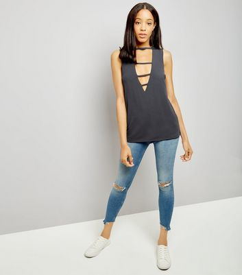 Grey Triple Strap Front Tank Top New Look