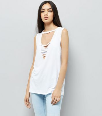 White Triple Strap Front Tank Top New Look