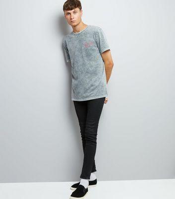 Grey Acid Wash Printed T-Shirt New Look