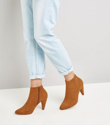 Wide Fit Tan Suedette Cone Heel Shoe Boots New Look