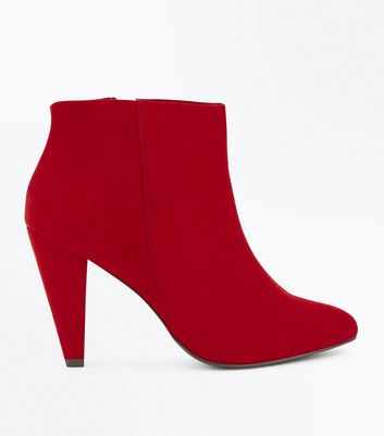 Wide Fit Red Suedette Cone Heel Shoe Boots New Look