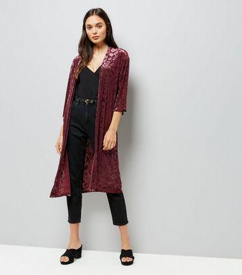 Burgundy Floral Burnout Velvet Kimono New Look