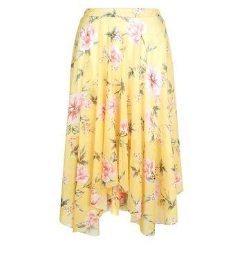 Yellow Floral Print Hanky Hem Skirt New Look