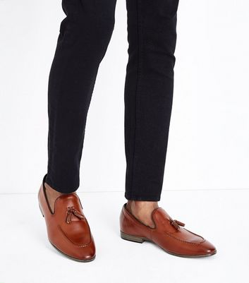 Tan Leather Look Tassel Loafers New Look