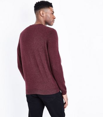 Burgundy Cotton Crew Neck Jumper New Look