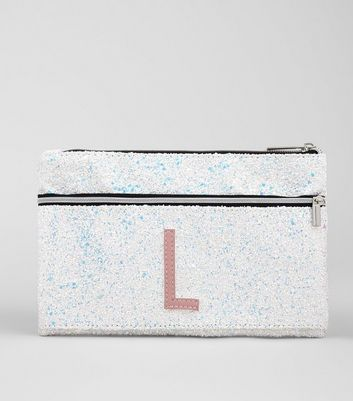 Silver Glitter Initial L Pencil Case New Look