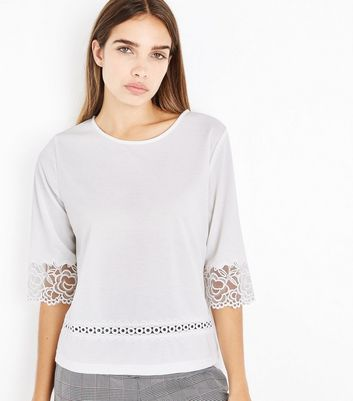 Off White Lace Trim Top New Look