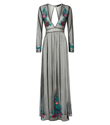 black-floral-embroidered-mesh-cover-up-maxi-dress