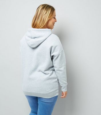 Curves Grey Oversized Hoodie New Look