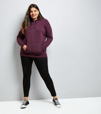 Curves Burgundy Oversized Hoodie New Look