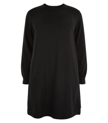 Curves Black Longline Sweater Dress New Look