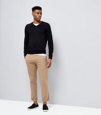 Black Cotton V Neck Jumper New Look