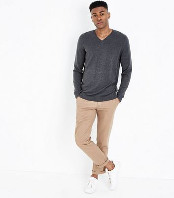Charcoal Grey Cotton V Neck Jumper New Look