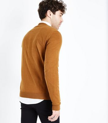 Tan Cotton V Neck Jumper New Look