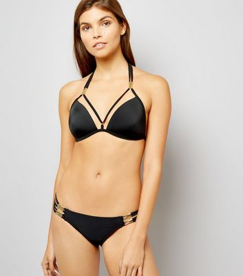 Black Strappy Metal Trim Bikini Bottoms New Look