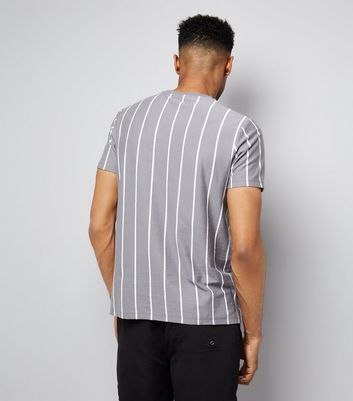 Pale Grey Pinstripe Print T-Shirt New Look